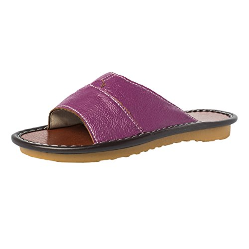 Womens Leather Purple Sole Toe Summer House Closed Rubber Sandals Resilient Slippers Slip Anti Haisum dxwO6TO