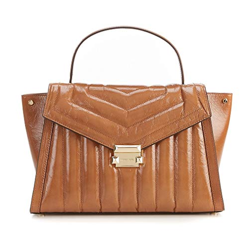 (MICHAEL Michael Kors Women Whitney Large Quilted Top-Handle Satchel Bag, Acorn)