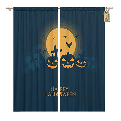 Golee Window Curtain Orange Halloween Pumpkins House Cat Bat Silhouette Full Moon Home Decor Rod Pocket Drapes 2 Panels Curtain 104 x 63 inches ()