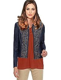 Women's Zip Embroidered Cotton Denim Jean Jacket Dark Blue