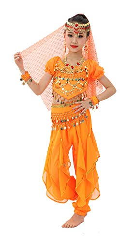 Gilrs Halloween Costume Set - Kids Belly Dance Halter Top Pants with Jewelry Accessory for Dress Up Party(Orange,L)