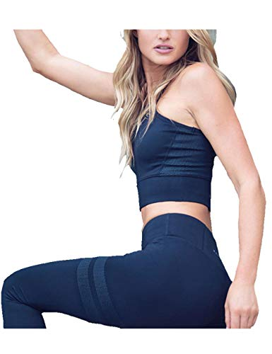 - Women's High Impact Racerback Sports Bra and Track Leggings Sets 2 Pieces Dotted Athletic Yoga Clothing Suit(BE-L) Blue