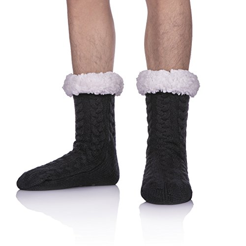 SDBING Mens Super Soft Warm Cozy Fuzzy Fleece-lined Winter Christmas gift With Grips Slipper socks (Black) (Sherpa House)