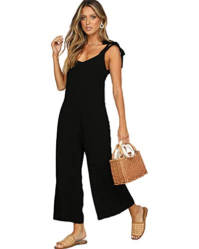 ALAIX Women's Cotton Casual Loose V Neck Sleeveless Bow Tie Shoulder Wide Leg Jumpsuits Rompers with Pocket Black-L