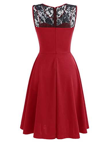 Dressystar Women Vintage Cocktail Party Dresses Sleeveless Lace Neckline Black Red XXXL