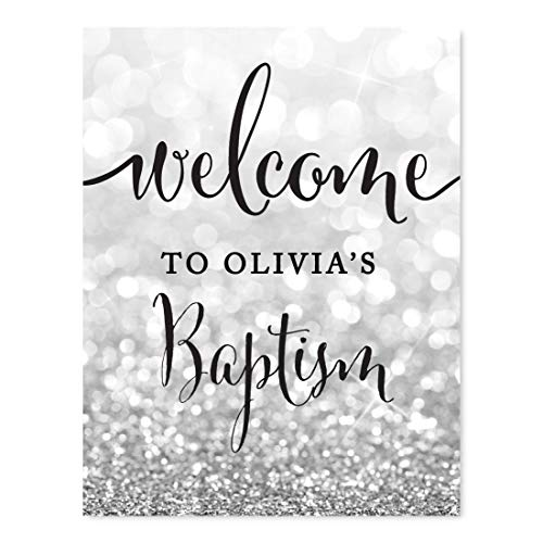 Andaz Press Personalized Baptism Party Signs, Glitzy Silver Glitter, 8.5x11-inch, Welcome to Olivia's Baptism, 1-Pack, Custom Name