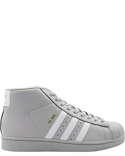 adidas Originals Kids Boy's Pro Model (Big Kid) Light Solid Grey/White/Gold 4 M US Big Kid