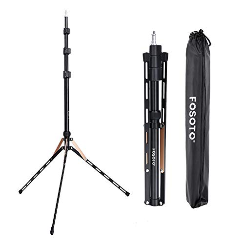 FOSOTO 75in Fold Video Tripod Light Stand Super Lightweight Compact for Ring Light, Speedlight, Flash, Umbrella, Softbox, Filming Product Portrait Shooting Lighting Stand