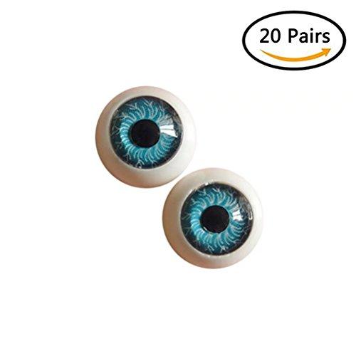 Dengguoli 20 Pairs/Set 12mm Doll Eyeballs, Exquisite and Meticulous Radial Veins in the Eyeballs, Half Round Acrylic Eyes for DIY Dolls Bears Crafts Making (Blue) from Dengguoli