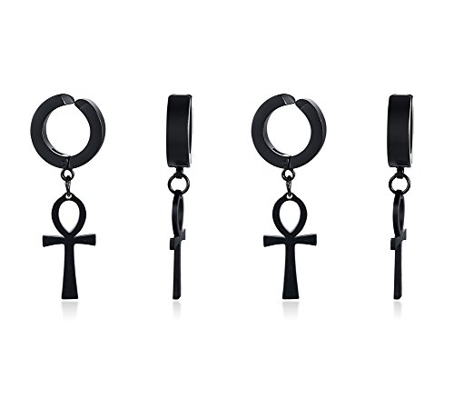 (Mens Stainless Steel Ear Clip Non-piercing Clip on Earrings with Dangling Egyptian Ankh Cross Charm )