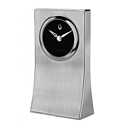 Bulova B5002 Oblisk Engravable Brushed Silver Tabletop Clock