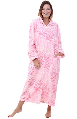 Del Rossa Women's Fleece Robe, Soft Zip-Front Bathrobe, Large XL Pink Flowers (A0300R27XL)