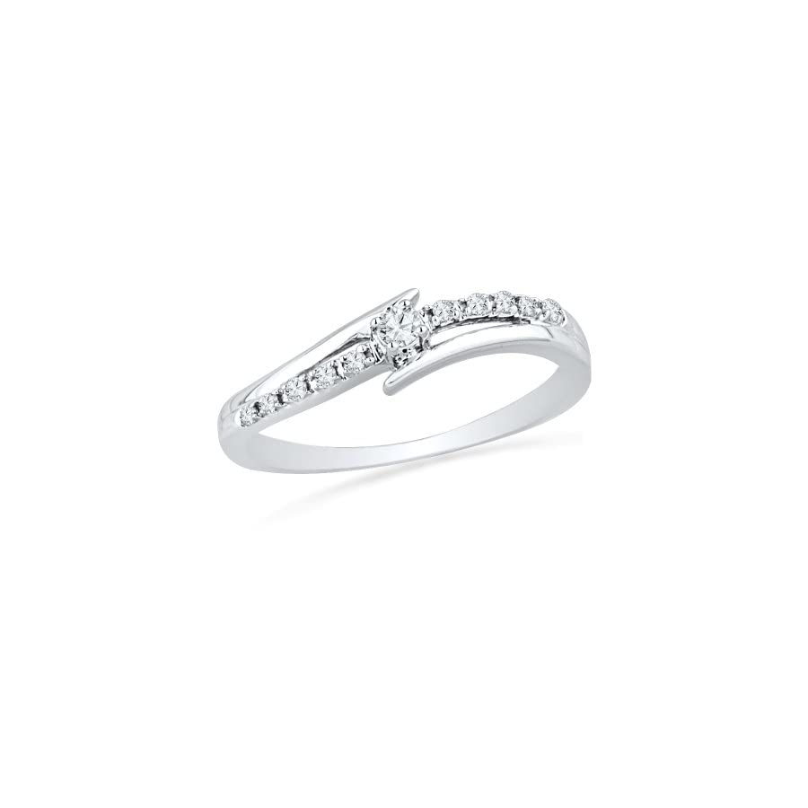 10KT White Gold Round Diamond Bypass Promise Ring (0.12 cttw)