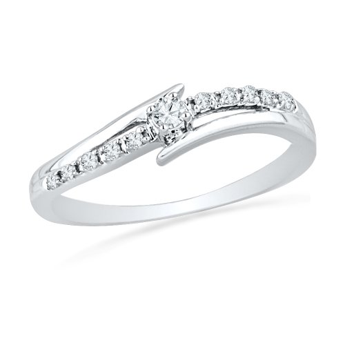 D-GOLD 10KT White Gold Round Diamond Bypass Promise Ring (0.12 cttw)