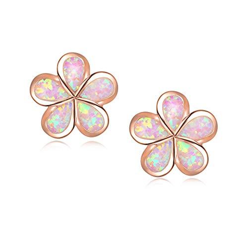 CiNily Hypoallergenic Flower Stud Earrings,Pink Opal Stud Earrings 14K Rose Gold Plated Flower Jewelry Gift for mom,Girls,Women
