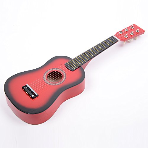 New 23'' Wood Toy 6 String Children's Acoustic Guitar+ Pick + Strings Red Color by Lykos