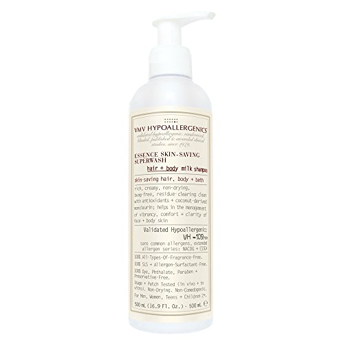VMV Hypoallergenics Essence Skin-Saving Super Wash Hair and Body Milk Shampoo, 16.9 Ounce