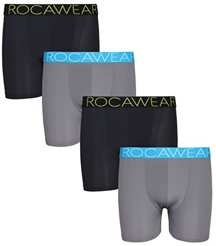 Rocawear Boy's 4 Pack Performance Boxer Brief, Black and Grey, X-Large/18-20' (18' Black Print)
