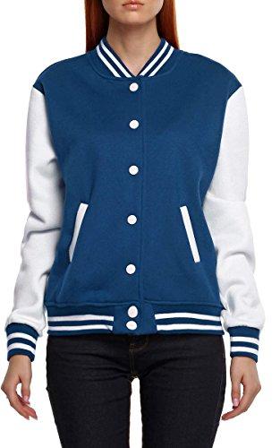 Review Meaneor Women's Baseball Hooded Jacket Varsity Hoodie Navy L