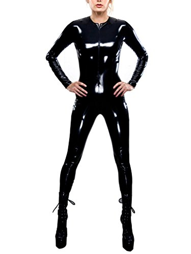 Holly Gibbons Women's Black Metallic Wet Look Zip Front Catsuit Teddy Clubwear (Front Leather Teddy)