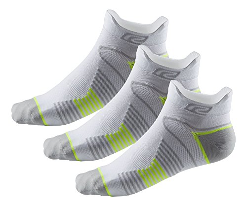R-Gear Super Performance Athletic Running Socks (3 Pairs) for Men/Women | No Show, Double Tab, Thin, XL, White/Yellow/Micro (Gear Low Cut Socks)