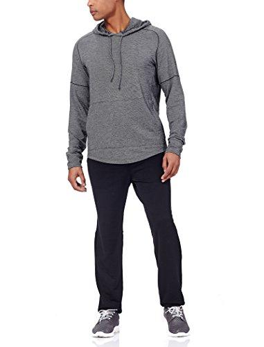 Icebreaker Merino Men's Momentum Long Sleeve Hoodie, New Zealand Merino Wool, Black Heather/Snow, Medium (Quantum Full Zip Hoody)