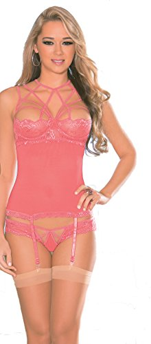 Escante Women's Strappy Neck Bustier with Garters Matching G-String and Thigh Hi, Coral Pink, Medium ()