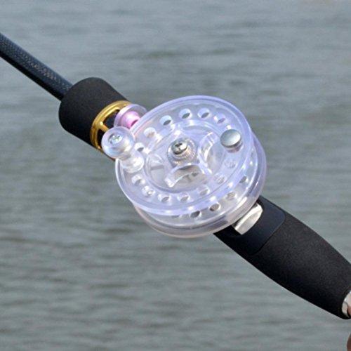 Cheap DZT1968 1PC Horizontal Fly Reel Diameter 60mm Arbor Transparent White/Black Aluminum Fly Fishing Reel (White)