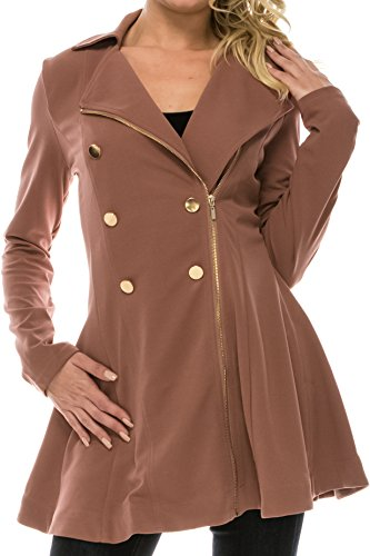 coul J WO901 Women's Double breasted Polyester Spandex Peacoat (Mauve_XXX-Large)