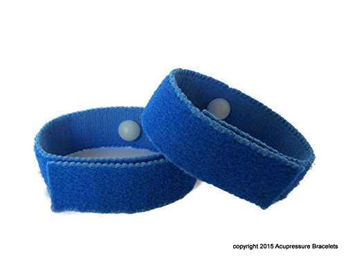 Motion Sickness Acupressure Bracelets for Seasickness and Nausea Symptoms, Ideal for Wet/Dry conditions (Pair) Royal Blue (medium/average adult 8