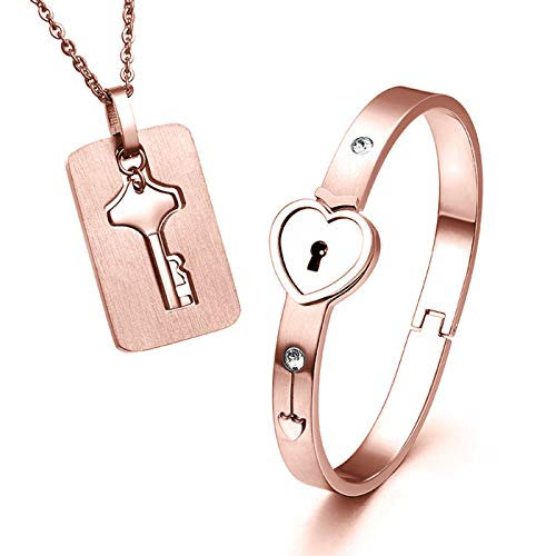 (ZLY His & Hers Jewelry Matching Set, Couples Charm Key Necklace Lock Bracelet Set, Personalized Stainless Steel Jewelry Valentines Gift (Rose Gold)