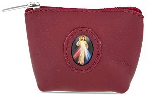 Rosary Case in Italian Leather (Red, Divine Mercy)