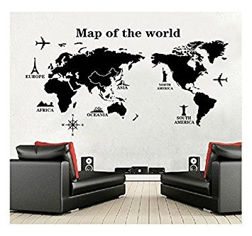 Amazon generic world map wall decal vinyl wall art removable generic world map wall decal vinyl wall art removable sticker large peel and stick gumiabroncs Images