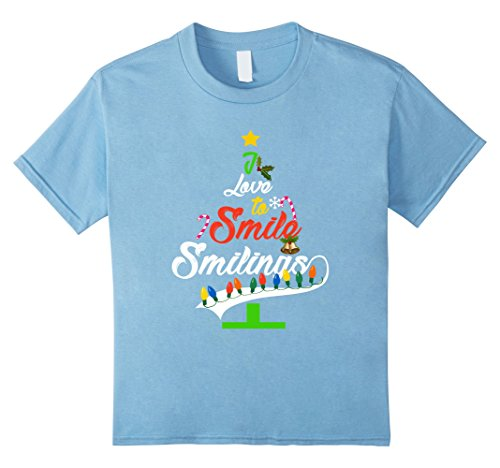 Kids I Love to Smile Smilings My Favorite T-Shirt Christmas Tree 12 Baby Blue (Top Favorite Christmas Songs)