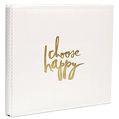 "American Crafts Heidi Swapp Storyline 12"" x 12"" Choose Happy Album Kit - Cream/Gold Finish - 28 Interior Pages, 14 Page Protectors"