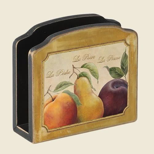 Olio Olive and Vine Tuscan Theme Wooden Napkin Holder ()