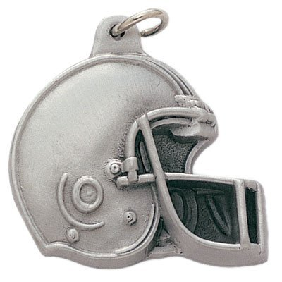 Football Helmet Antique Pewter Finished with Split Keyring and Chain - Pack of 6