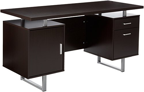 - Glavan Double Pedestal Office Desk with Metal Sled Legs and Floating Desk Top Cappuccino