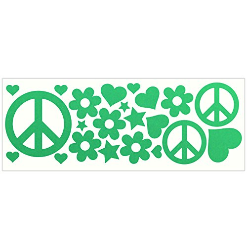 LiteMark Reflective Green Hippy Sticker Decals for Helmets, Bicycles, Strollers, Wheelchairs and More
