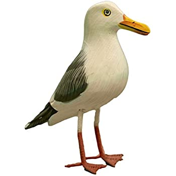 Nautical Decoration Hand Made Wooden Seagull Figurine, 6.5 Inches Tall