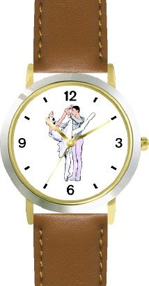 Ballerina and Ballet Dancer Couple No.2 - WATCHBUDDY DELUXE TWO-TONE THEME WATCH - Arabic Numbers - Brown Leather Strap-Size-Large ( Men's Size or Jumbo Women's Size ) by WatchBuddy