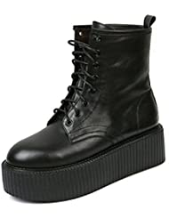 RoseG Womens Boots Leather Lace Up Platform Creepers Shoe