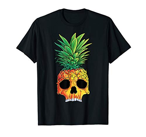 (Pineapple Skull T shirt Aloha Beaches Hawaiian Hawaii Goth)