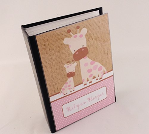 Girl photo albm 490 Pink Giraffe Printed Burlap Personalized baby shower gift baby photo album. 4x6 Photo Album 100 pictures