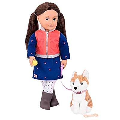 Our Generation- Leslie and Pet Husky- Accessories, Pets & 18 inch Dolls - for Girls Ages 3 Years & Up: Toys & Games