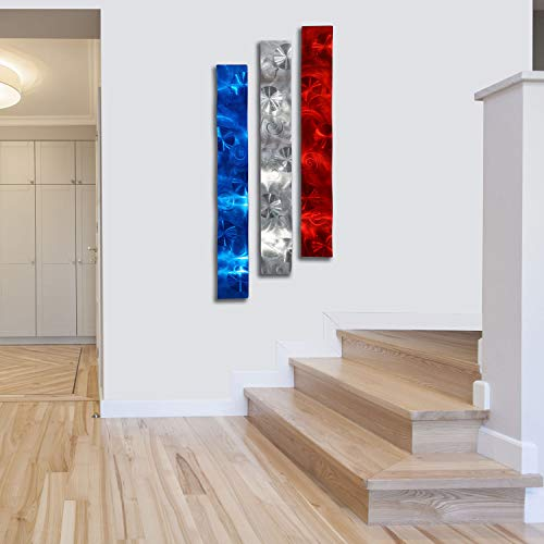 Patriotic Modern Metal Wall Art Red, Silver, and Blue Accent - Home