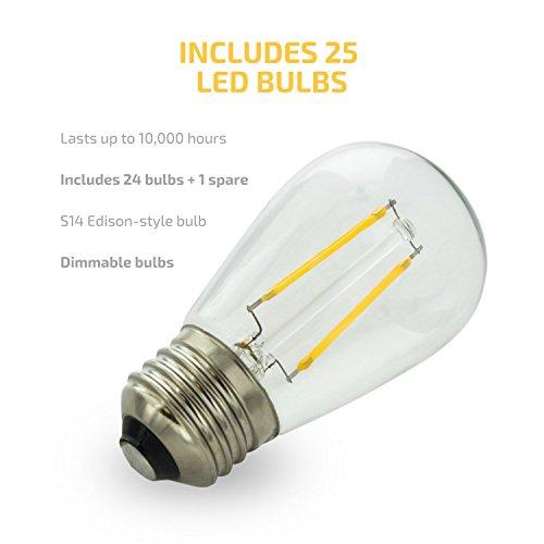 Bulb 2 watt s14 style dimmable bulbs 48 ft seamless design commercial grade lighting weatherpoof technology 5 year warranty garden outdoor