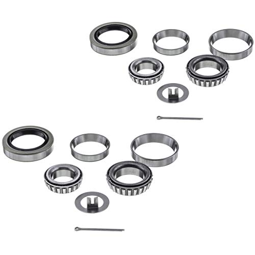 ([2 Sets] 3500lbs Trailer Axle Bearing Kit L44649/10, L68149/11 for #84 Spindle,1.719'',10-19 Seal)