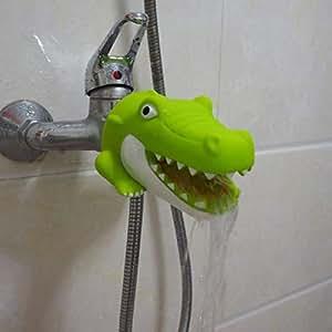Faucet Extender | Bathroom Tub Faucet Extender Protector | Baby Bathtub Faucet Cover (Green Crocodile)