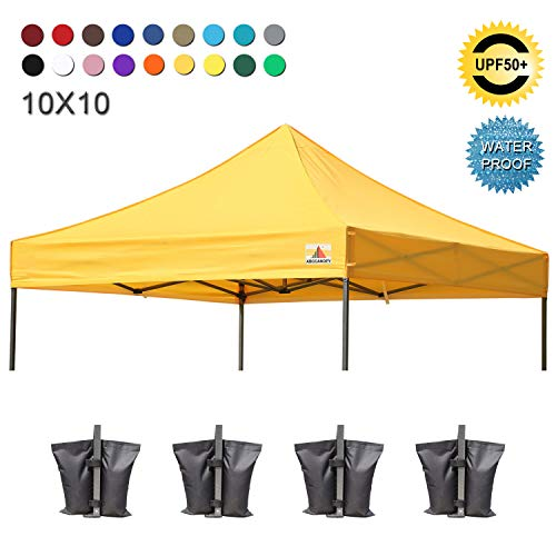 ABCCANOPY Replacement Top Cover 100% Waterproof (18+ Colors) 10x10 Pop Up Canopy Tent Top, Bonus 4 x Weight Bags (Gold)